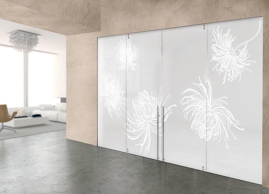 Armonia - Porte in vetro satinato con decoro sabbiato