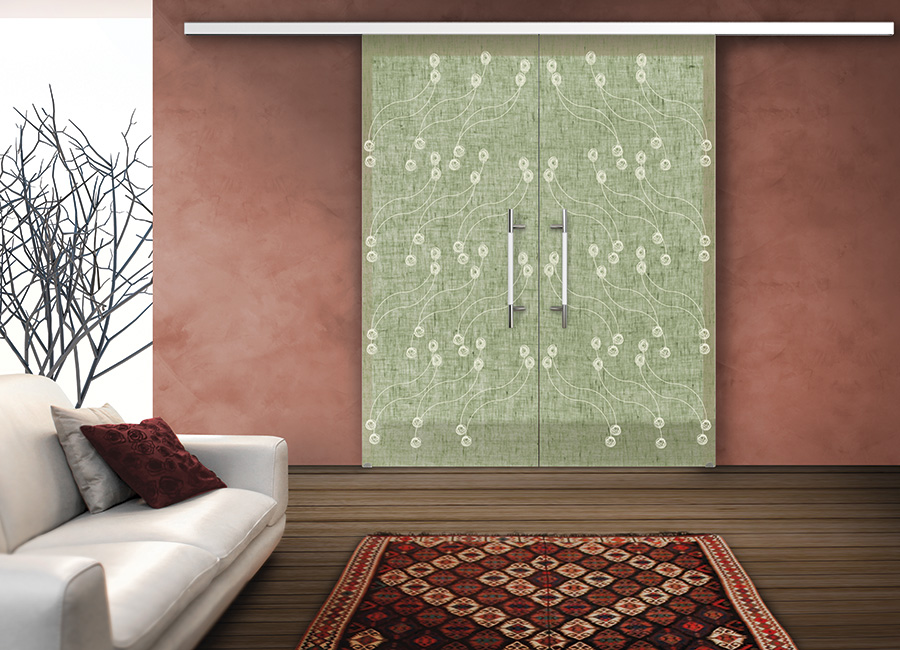 Balletto - Porta vetro decorata con lino e vernice