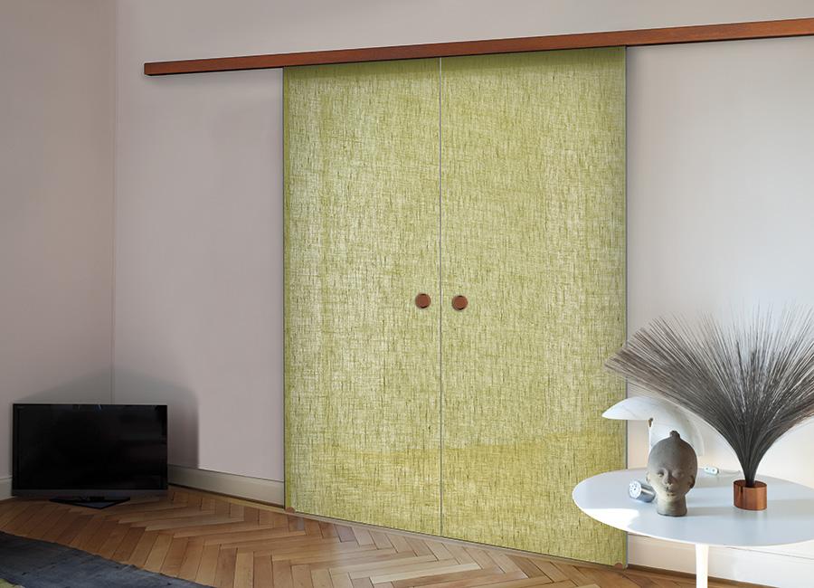 Citronella - Porta vetro decorata con lino