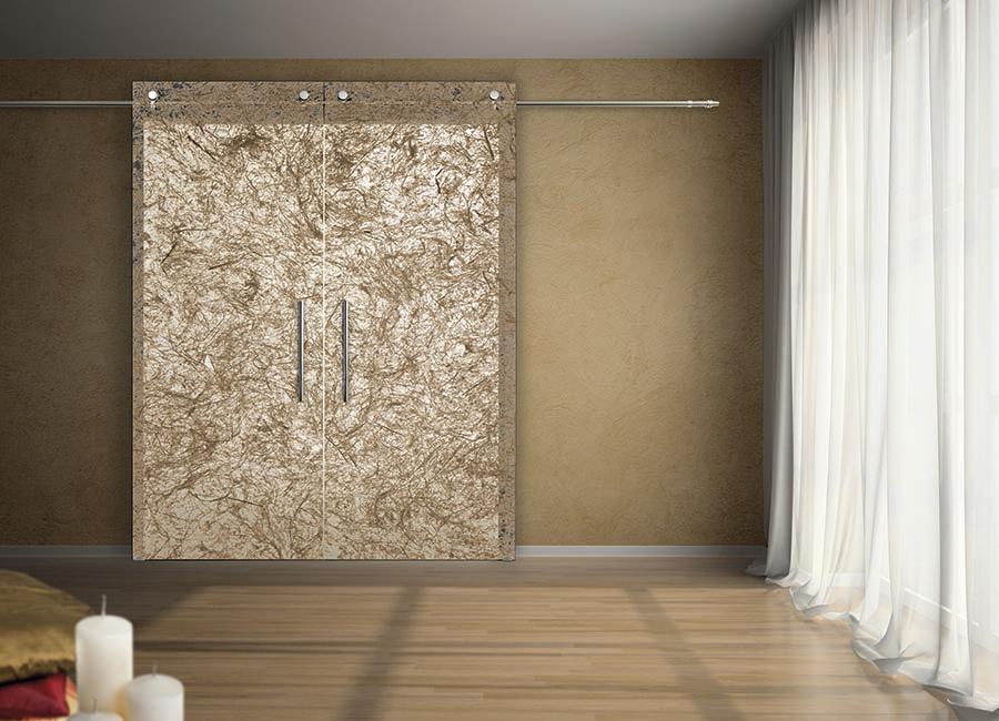 Corteccia - Porta vetro decorata con strati naturali