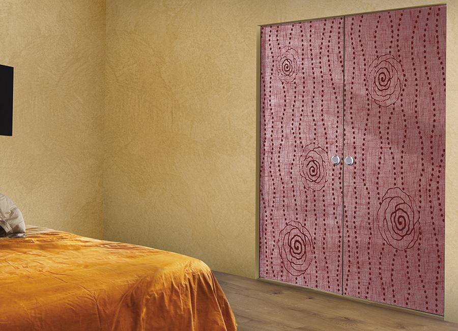 Damascena - Porta vetro decorata con lino e vernice