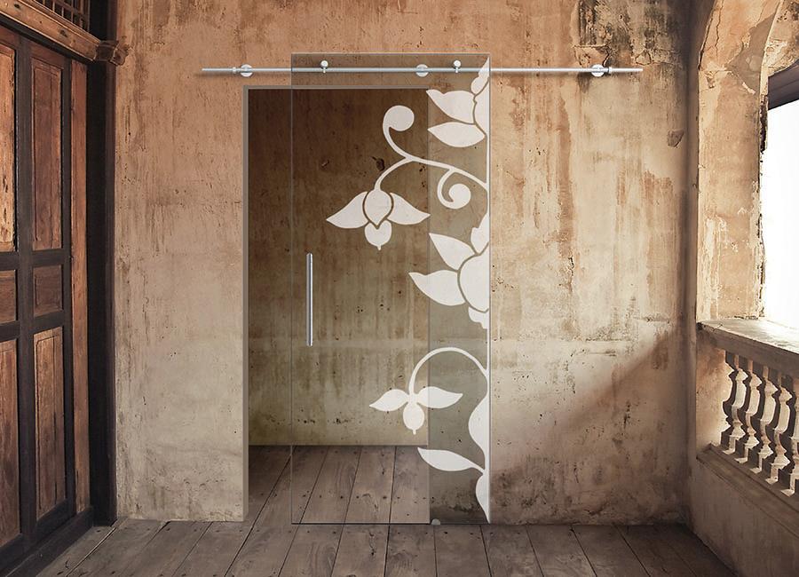 Mezzoloto - Porta in vetro trasparente con decoro sabbiato