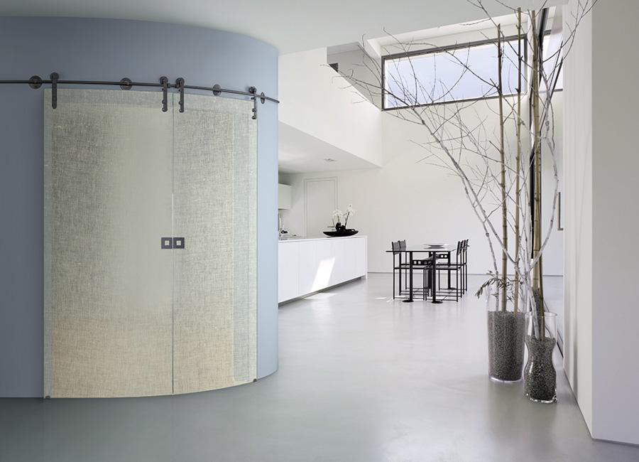 Parabolica - Porta vetro decorata con lino
