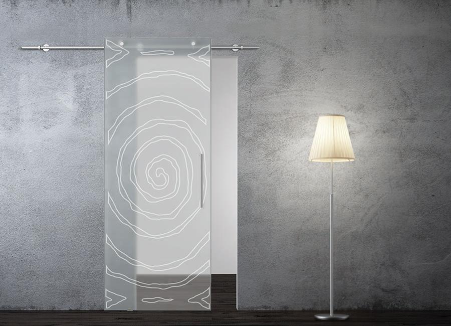 Saturno - Porta in vetro satinato con decoro sabbiato