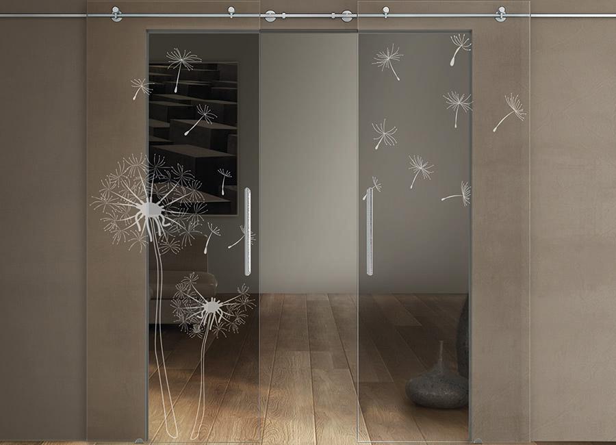Soffioni - Porte in vetro trasparente con decoro sabbiato