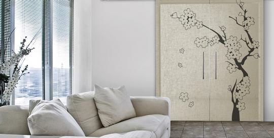 Ciliegio - Porta vetro decorata con lino e vernice