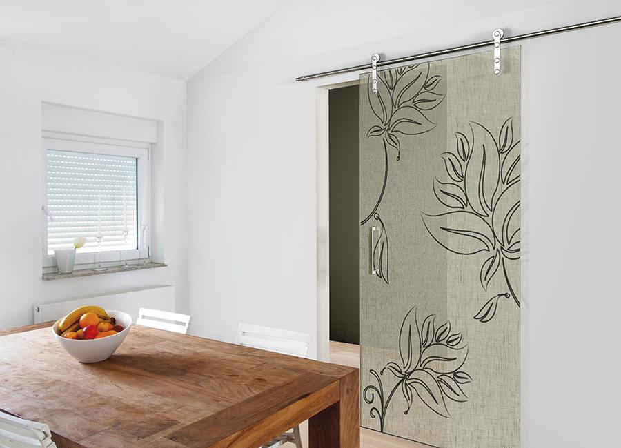 Flores - Porta vetro decorata con lino e vernice