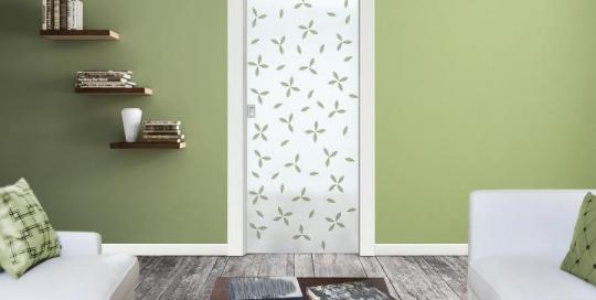 Gemma - Porta vetro decorata con foglie naturali