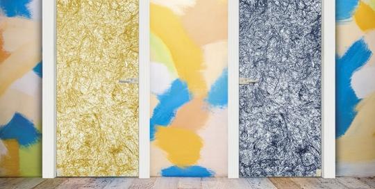 Grano e Cielo - Porta vetro decorata con strati naturali