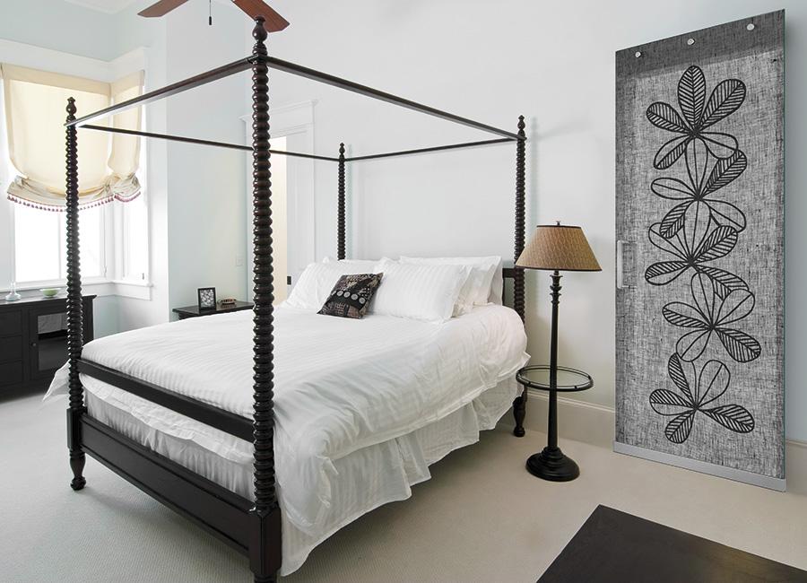 Quiete - Porta vetro decorata con lino e vernice