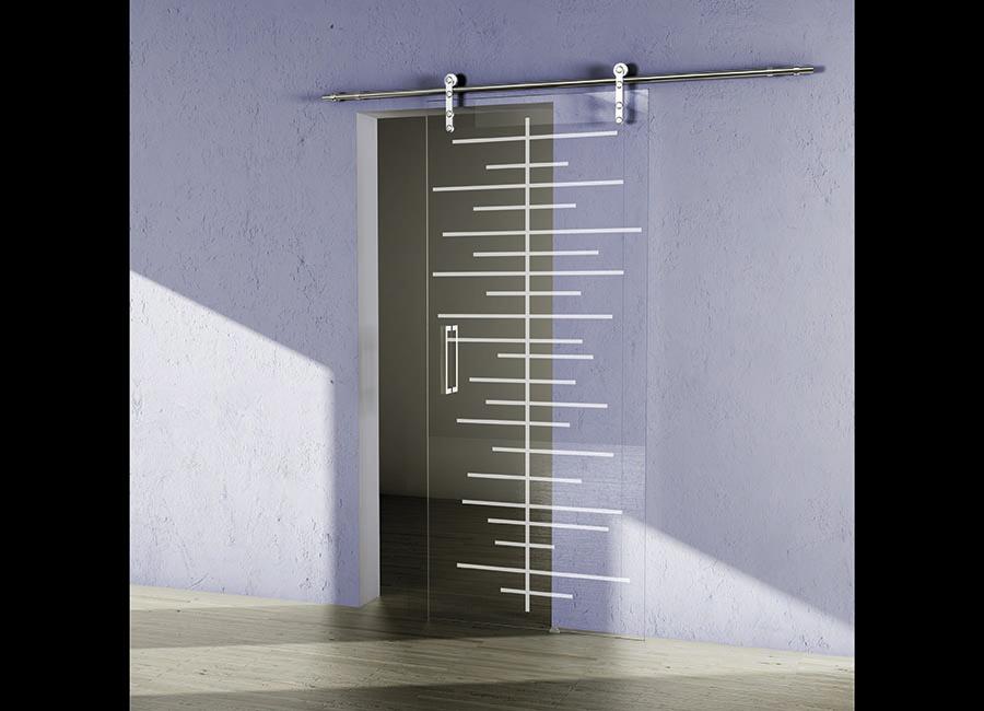 Righello - Porta in vetro trasparente con decoro sabbiato