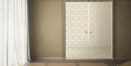 Sahara - Porta con vetri stratificati verniciati