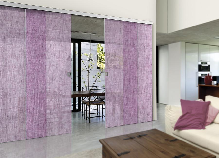 Viola - Porta vetro decorata con lino