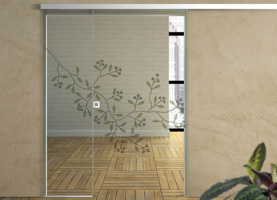 Vischio - Porta vetro decorata con foglie naturali
