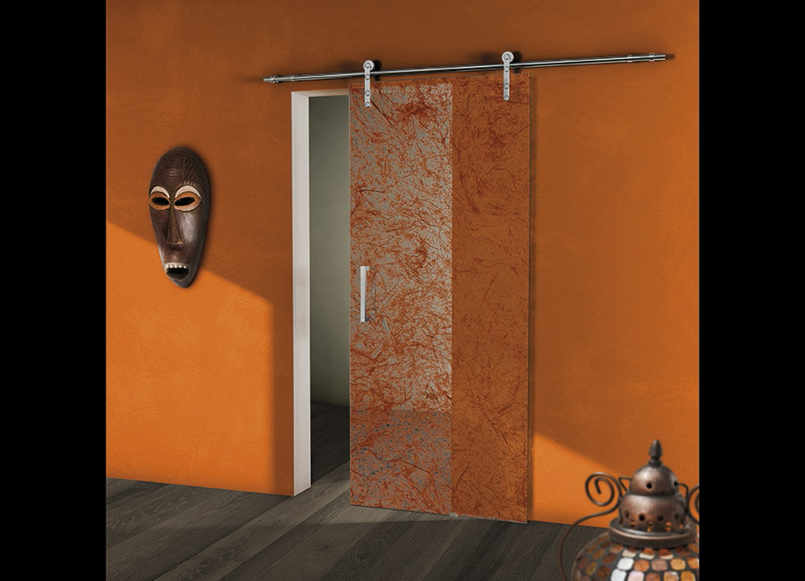 Zafferano - Porta vetro decorata con strati naturali